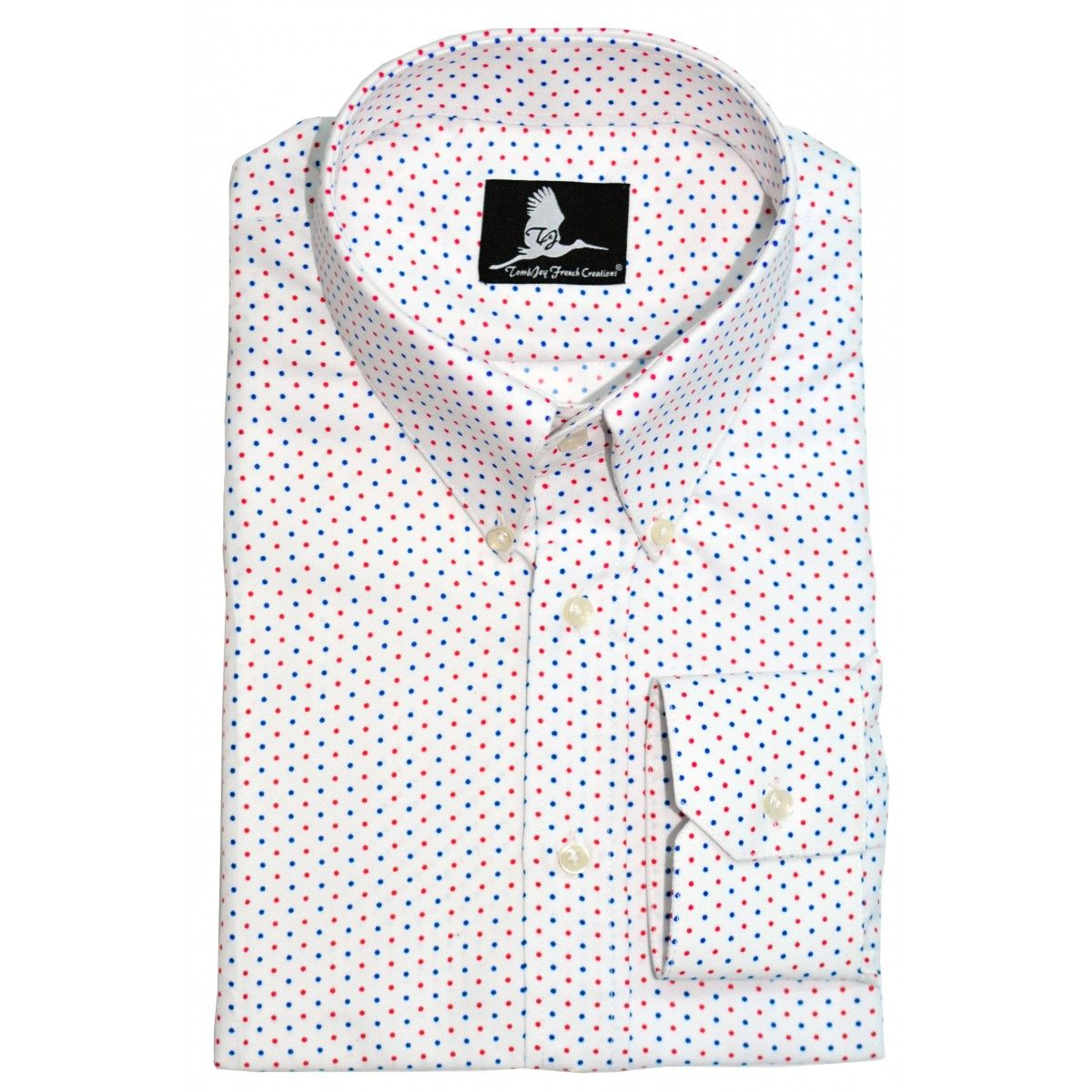 45c1081a0bbbfc White Mini Blue and Red Dots Shirt | Printed shirts | Shirts, Red ...