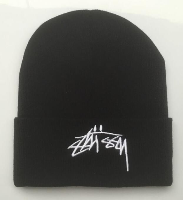 Men s   Women s Stussy Smooth Stock Logo Embroidery Cuffed Knit Beanie Hat  - Black   White 9341cd55ea0d