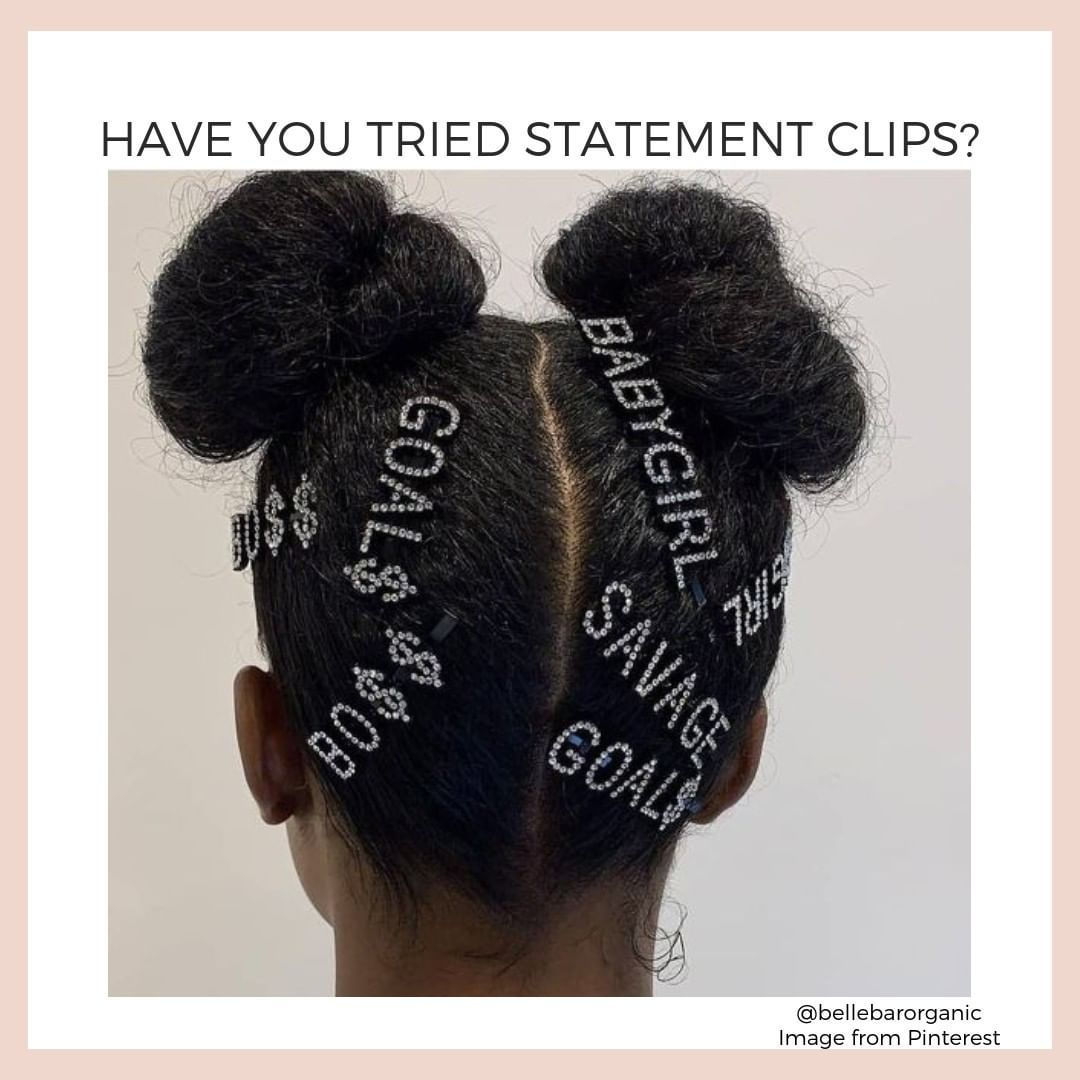 How fun and extra is this look? Super easy to do. Just comb and brush your hair into two mini buns. Then add barrette's and clips that make a statement. Let the world know who you are. Perfect for festivals.  Not extra enough for you? Dress up those baby hairs as well!  #bellebarorganic #trustnature #naturalproducts #organicbeauty #naturalbeauty #organichairca