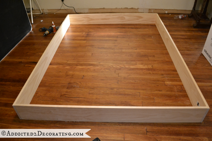 Diy Stained Wood Raised Platform Bed Frame Part 1 Bed