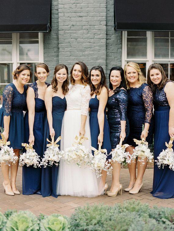 Navy vestidos de dama de honor azul | Ideas para bodas ...