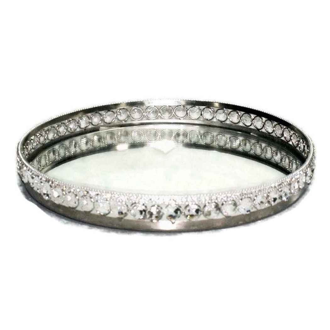 Heim Concept Sparkle Round Mirror Tray With Beaded Crystals