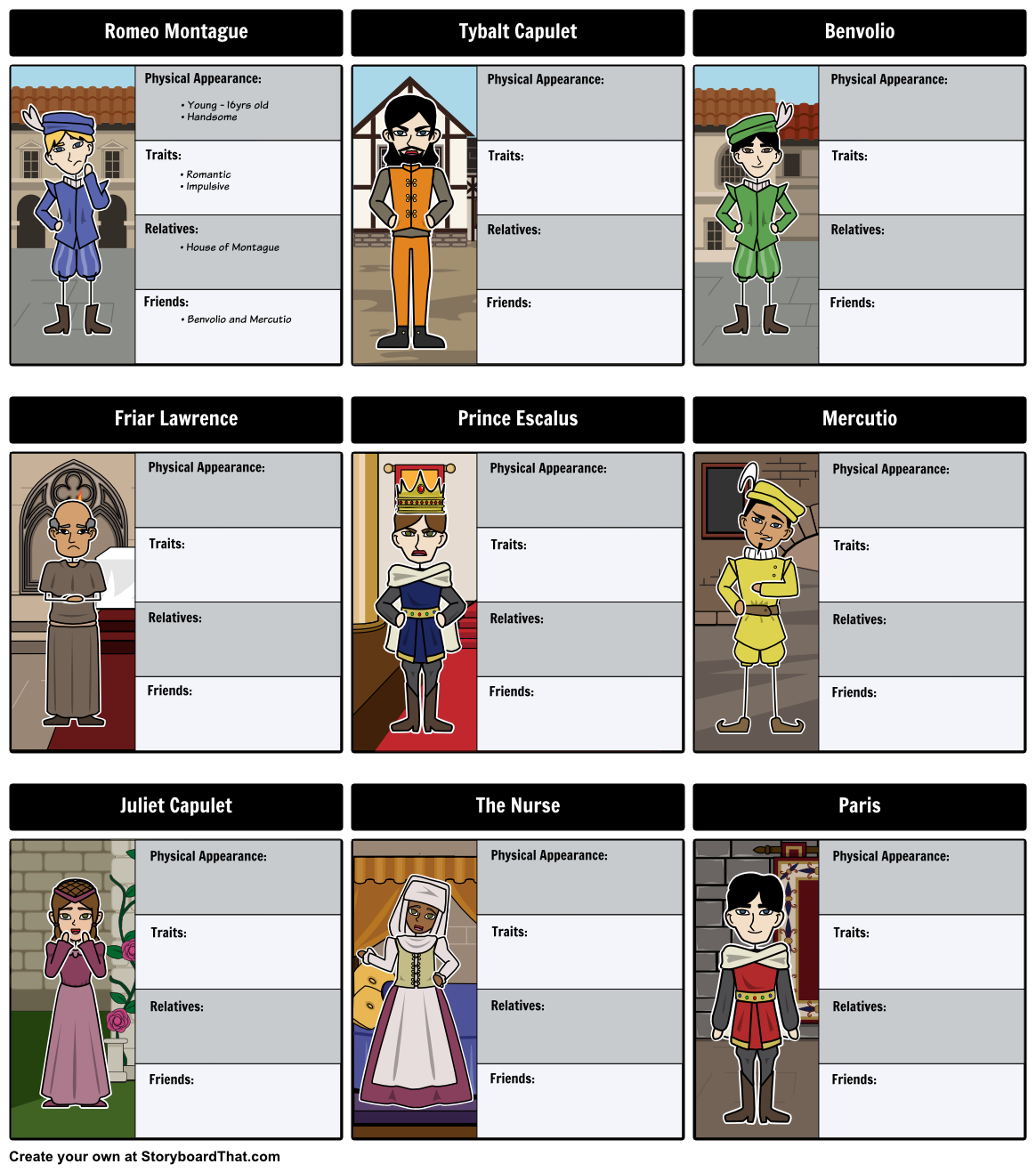 romeo and juliet vocabulary words activities and quizzes bundle the tragedy of romeo and juliet character map a complete character map for the