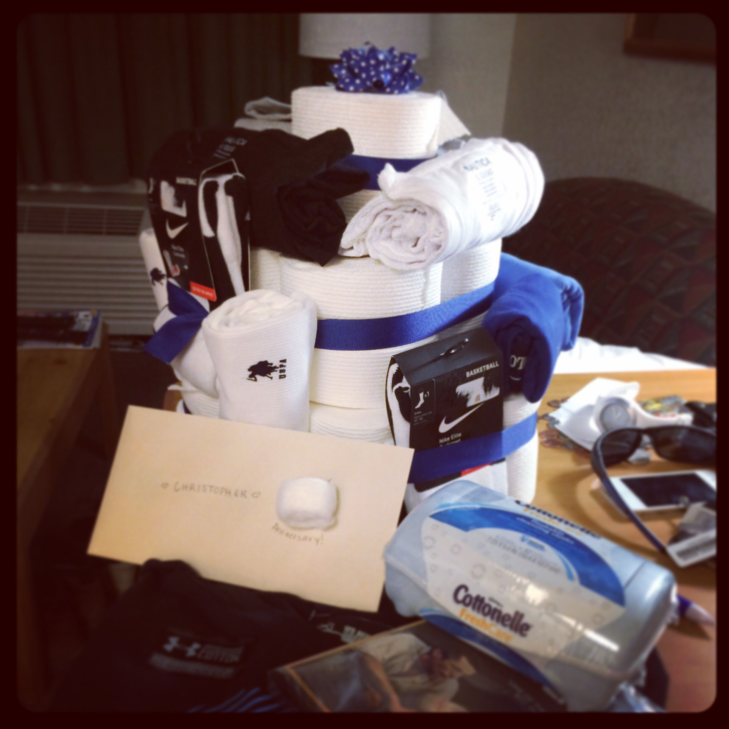 Second Anniversary Gift Idea For Husbands Cottonell Toilet Paper Cake With Orted Cotton Made Goos Socks Uns Shirts Qtips Etc