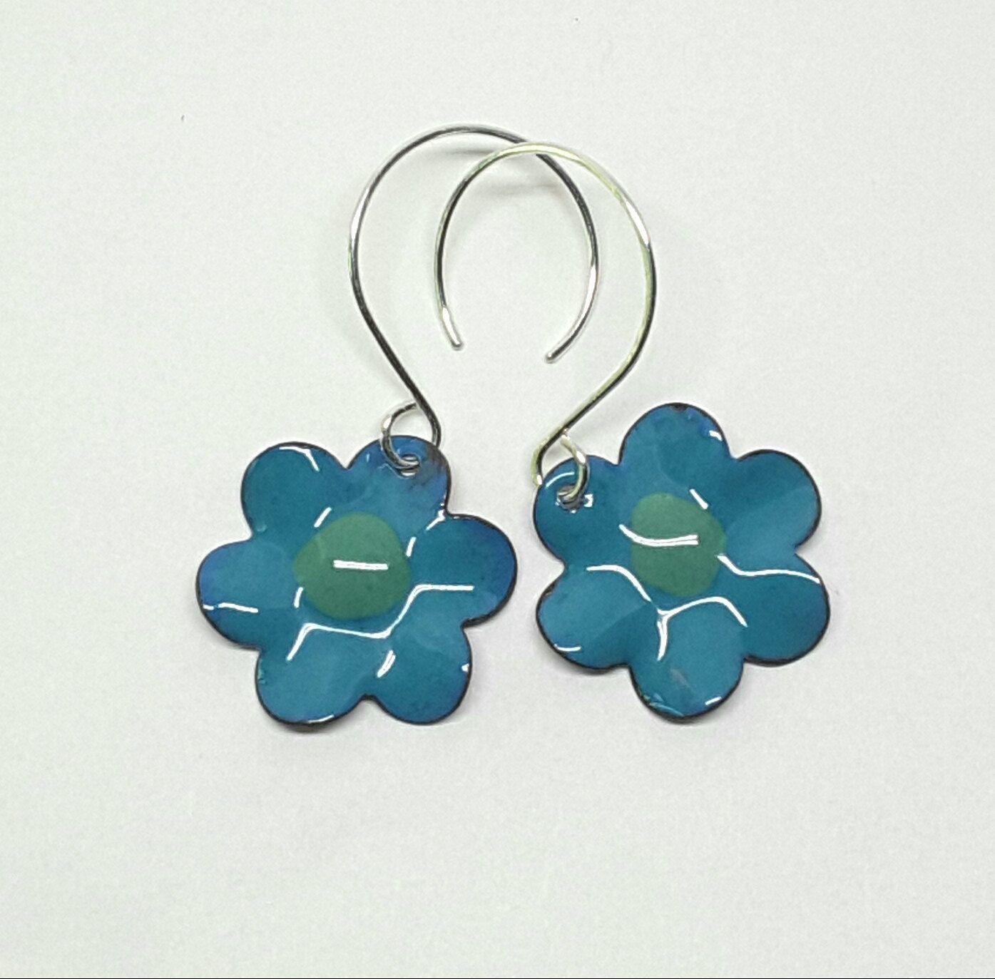 Sapphire Blue Enamel Flower Earrings by PrayerMonkey on Etsy