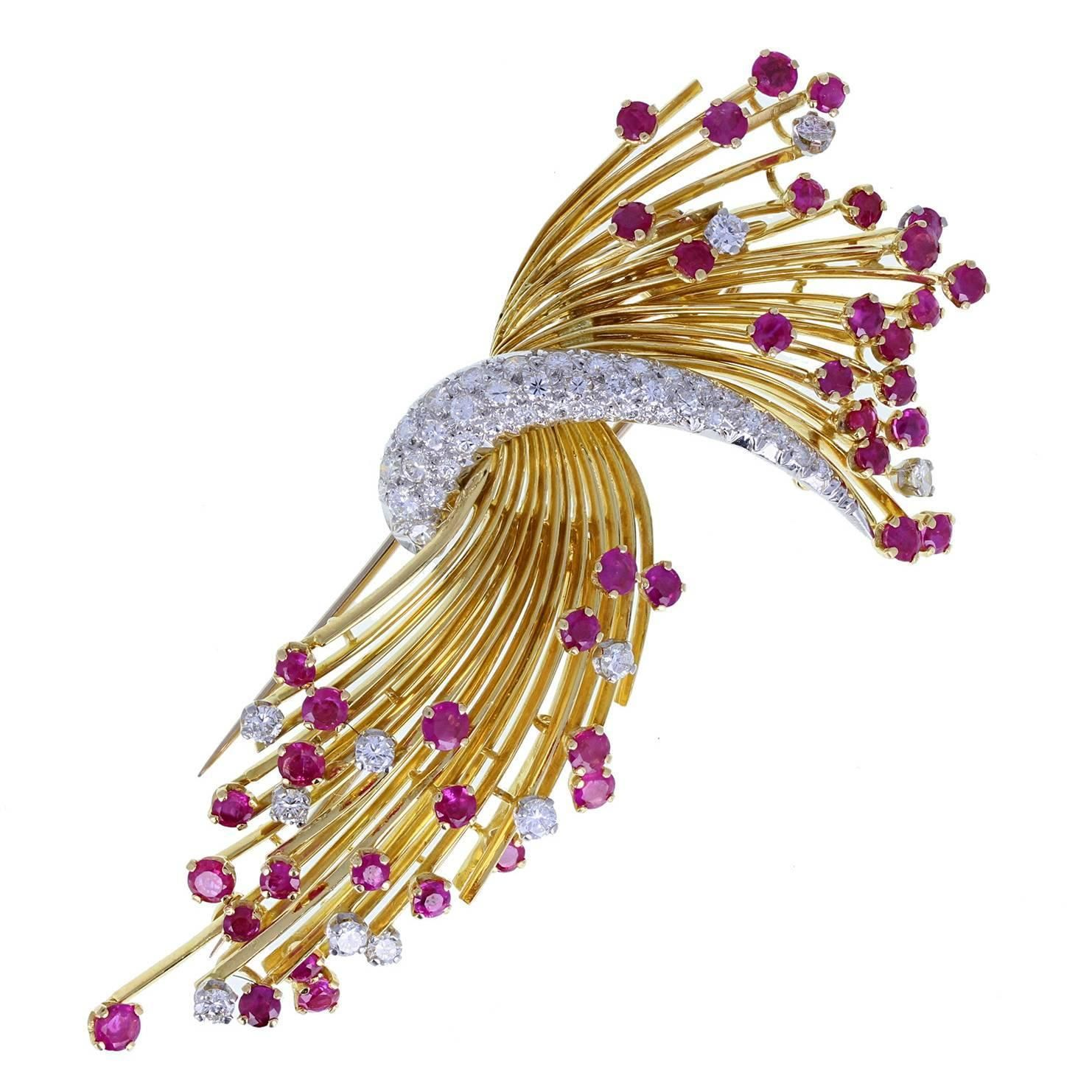 Kutchinsky Ruby Diamond Gold Spray Brooch Gold spray Brooches and
