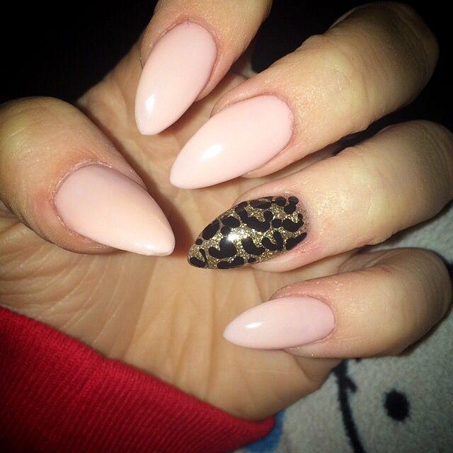 Pink Leopard Stiletto Nails Leopard Pink Stiletto Almond
