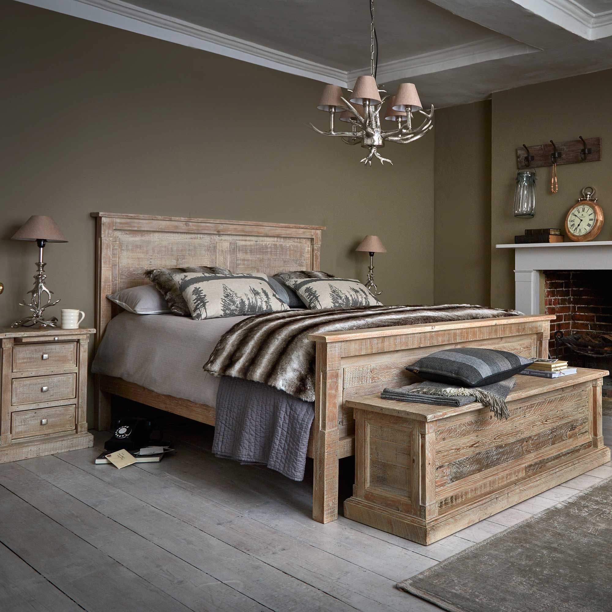 The Austen Bed Frame is made from reclaimed wood with a ...