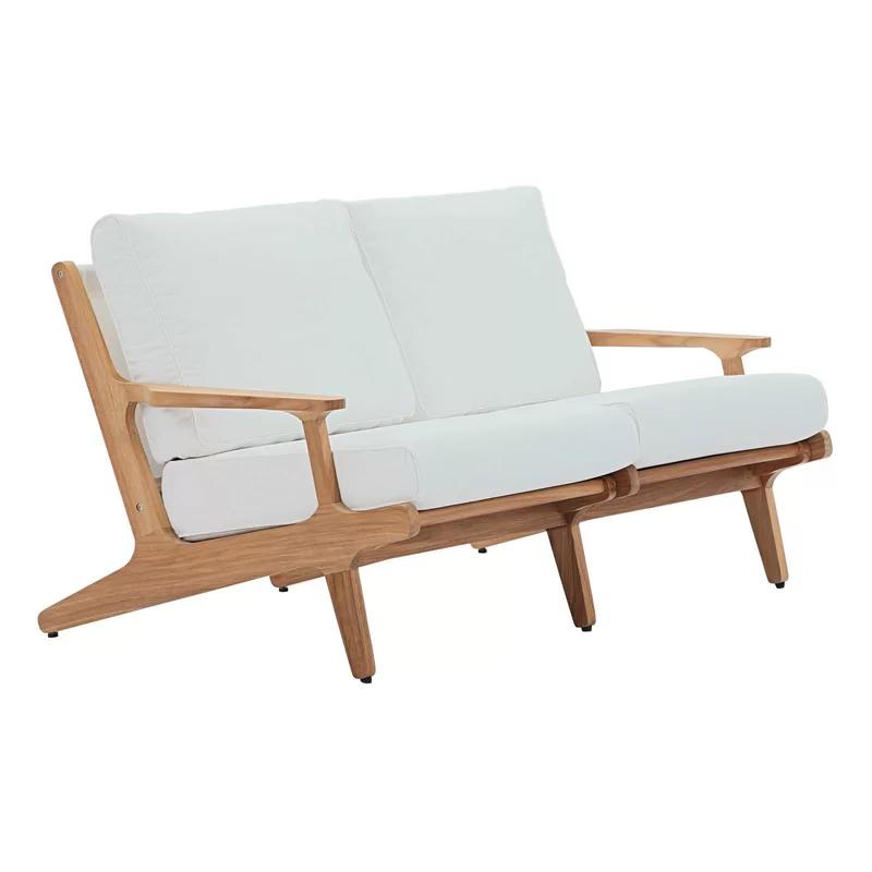 Berube Outdoor Teak Loveseat With Cushions In 2020 Outdoor Loveseat Modern Outdoor Furniture Teak Outdoor
