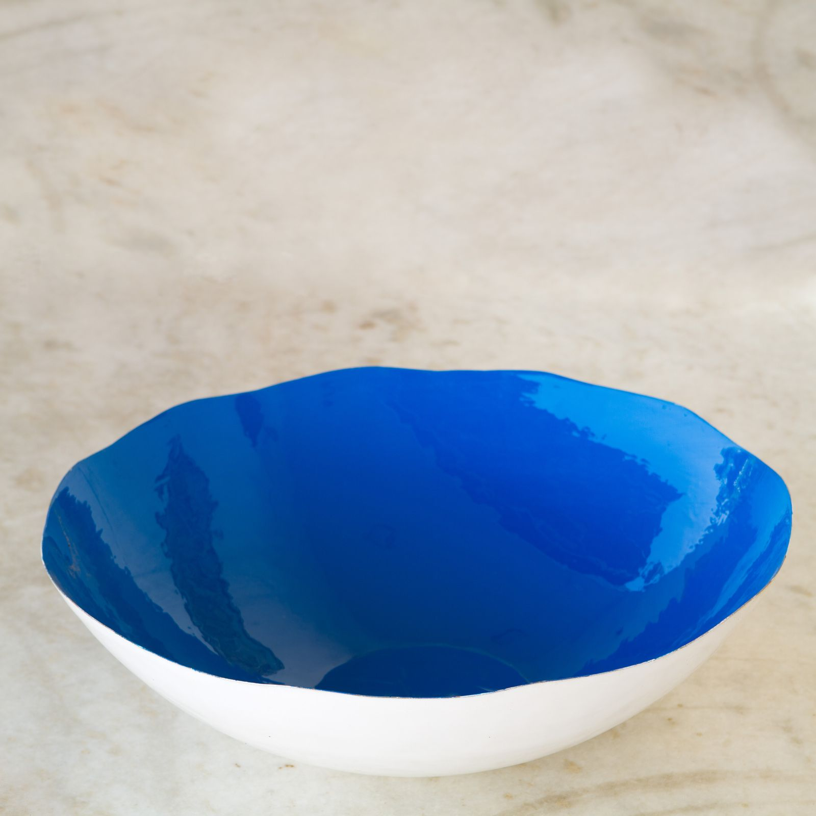 Blue Decorative Bowl Love Cobalt Enamel Decorative Bowl  Large  White  Blue
