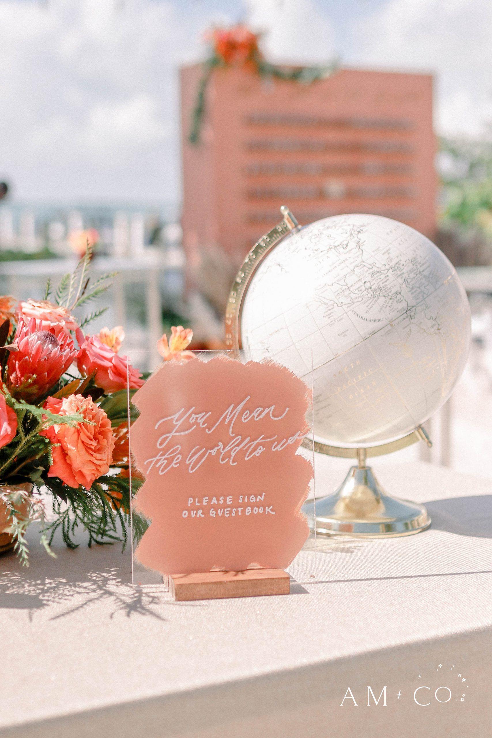 Acrylic Wedding Signs Pink Wedding Decorations for Boho