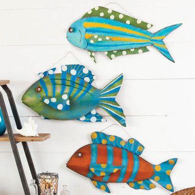 Wooden Fish Wall Decor wooden and metal fish | cape craftsmen coastal delights 3d metal
