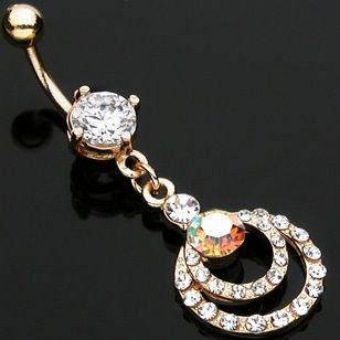 Gold Plated Double Hoop Belly On Ring