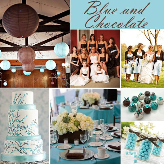 Chocolate and Blue Wedding Colors - check check out white silver ...