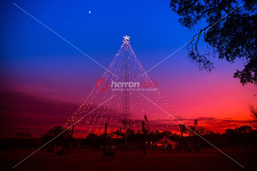 The colorful Zilker Holiday Tree lights up the night sky in downtown Austin, Texas every year during Christmas season.