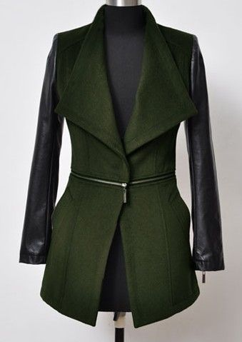 Green Contrast PU Leather Long Sleeve Zipper Coat