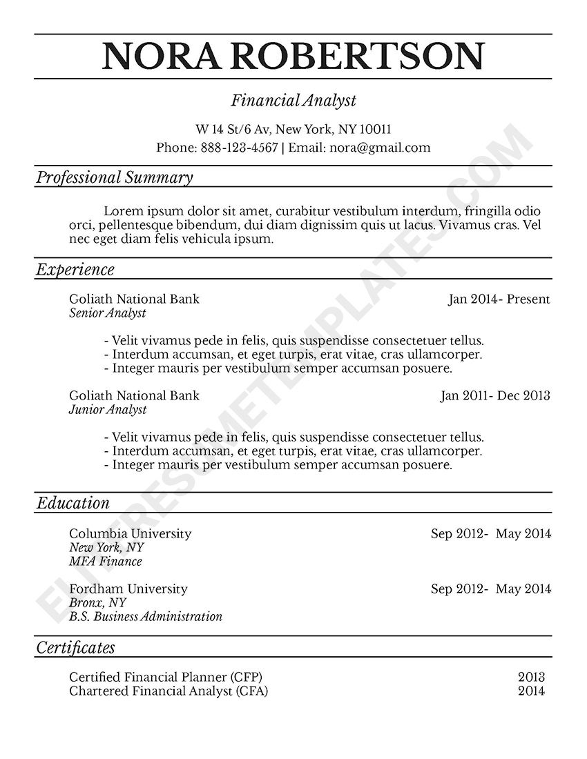 Traditional Resume Templates Manhattan  Elite Resume Template  Business Professional And