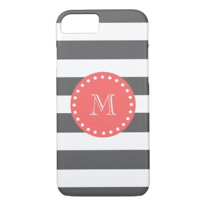 Charcoal White Stripes Pattern Coral Monogram Iphone  Case