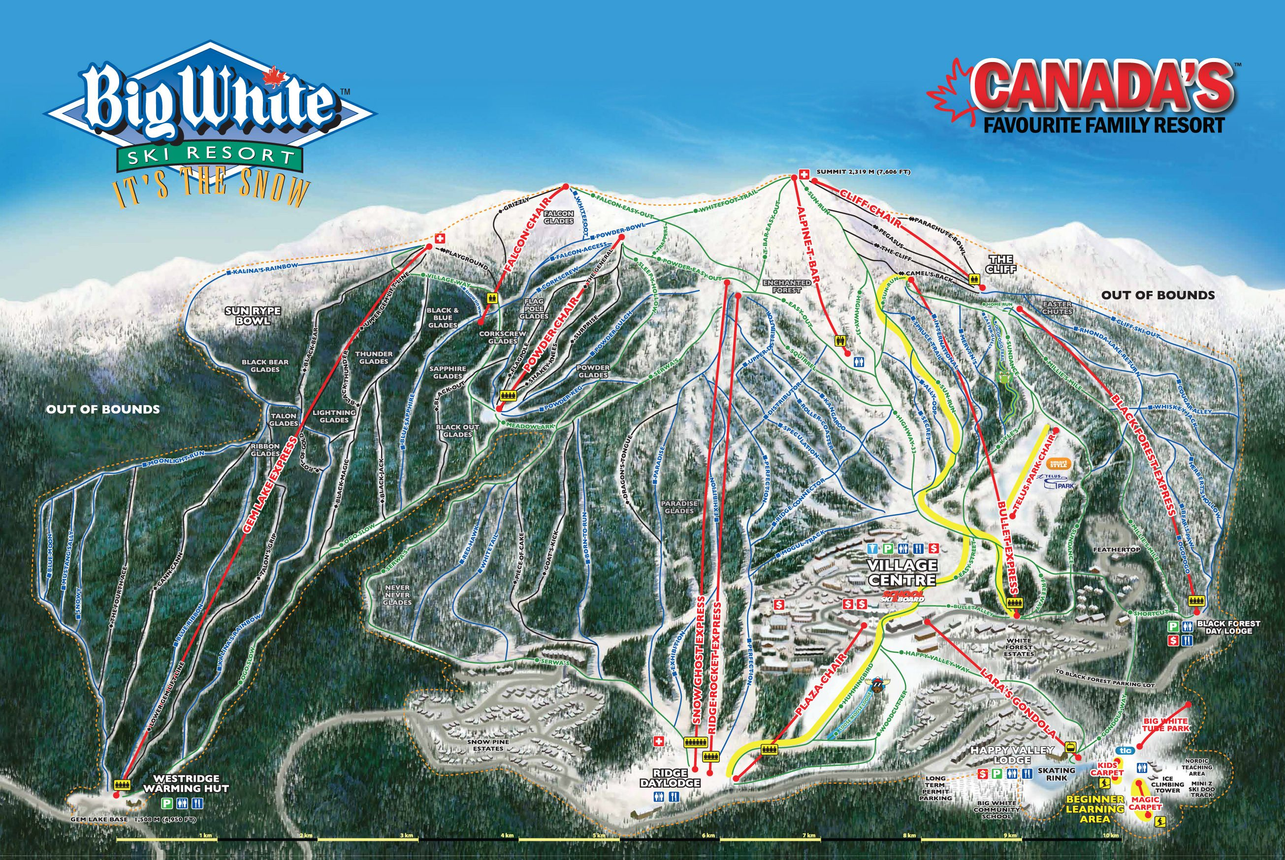 Big White Canada Village Map Big White Ski Resort Ski Run Map 2018 | Canada ski resorts, Ski