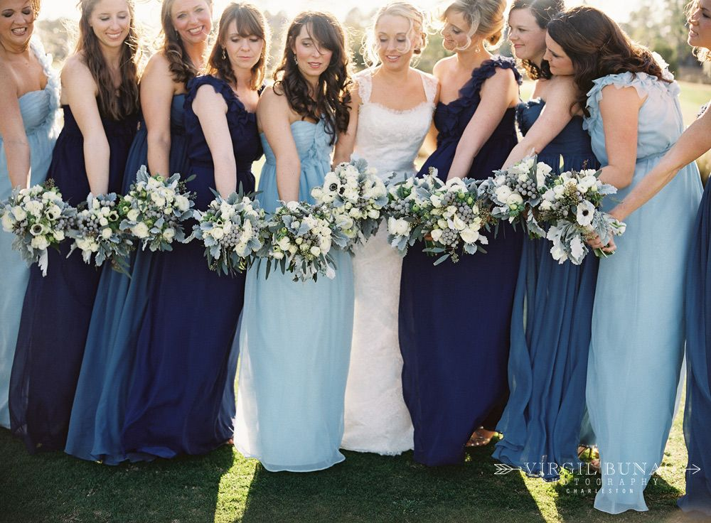 Mismatched navy bridesmaids dresses are perfect for for Light blue wedding dress meaning