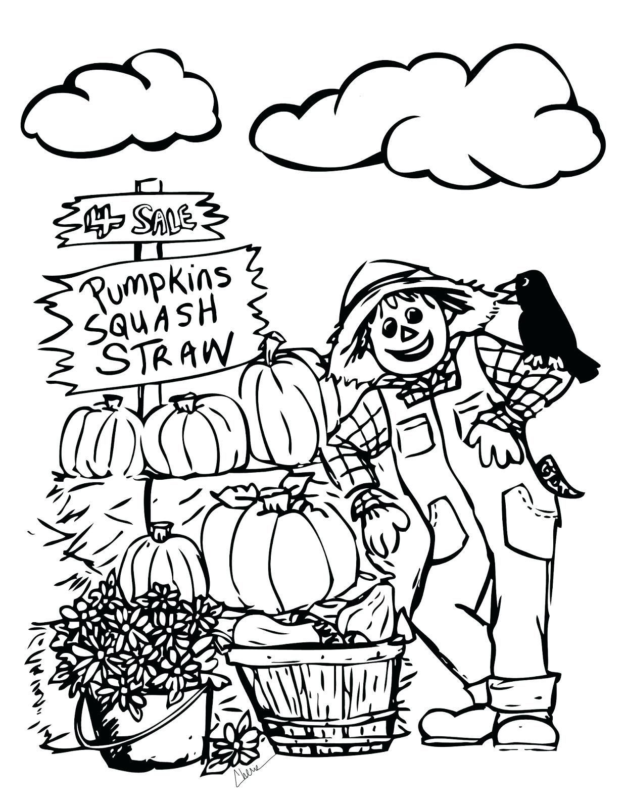 Free Printable Scarecrow Coloring Pages With Soar Autumn