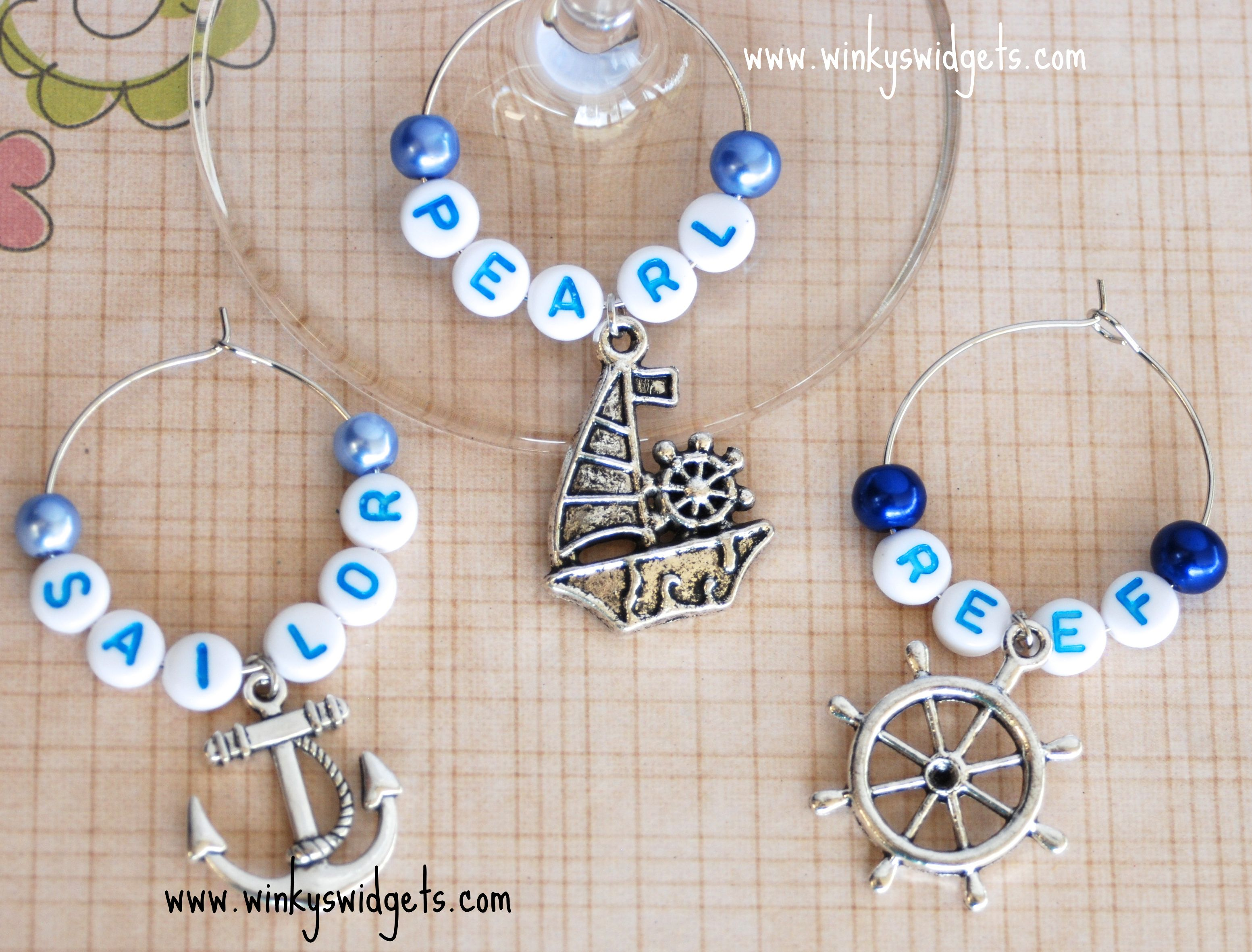 Beach wedding idea  wine glass charm from Winkyus Widgets  Nautical Theme ship