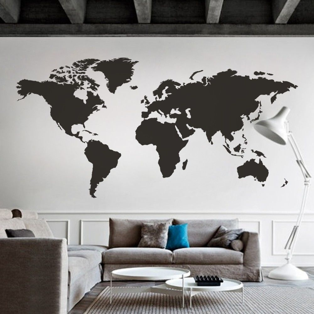 Details About World Map Wall Decal Big Global Vinyl Office Inspiration Room Mural Decor Large Map Wall Decal Wall Stickers Living Room World Map Wall Decal
