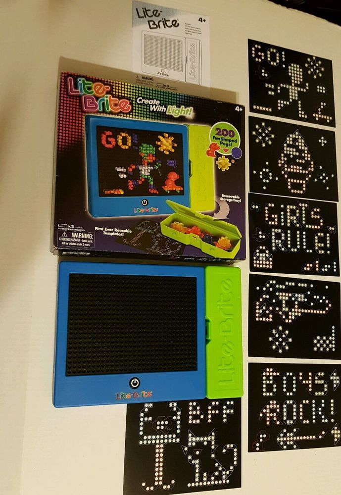 lite brite magic screen set fun shaped pegs templates storage tray hasbro