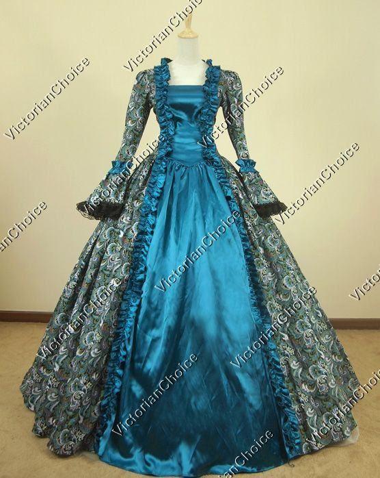 Victorian Satin Floral Print Period Dress Ball Gown Reenactment ...