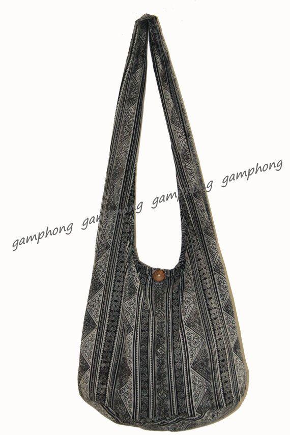 Monk Buddha, Hippie, Hobo strap Cross body Bag, New Thai Cotton 100% ,  Black Thai pattern 4cc034e3c7