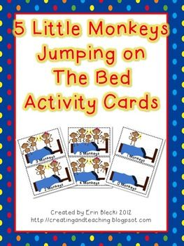 Here are some activity cards to go with either a text version of 5 Little Monkeys Jumping on the Bed, or the song. I give each card to a student and they must bring it to the teacher, or up to the board when it is that part in the story/song.Images from Google Image Search and Goodness & Fun!