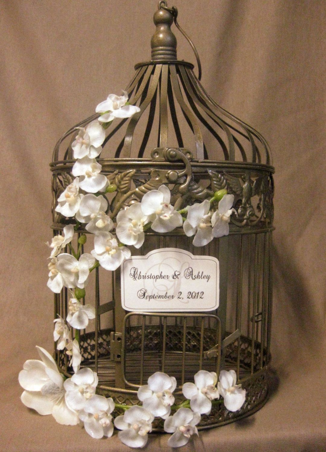 Gold Bird Cage Wedding Card Box Vintage Style With Orchid Vine