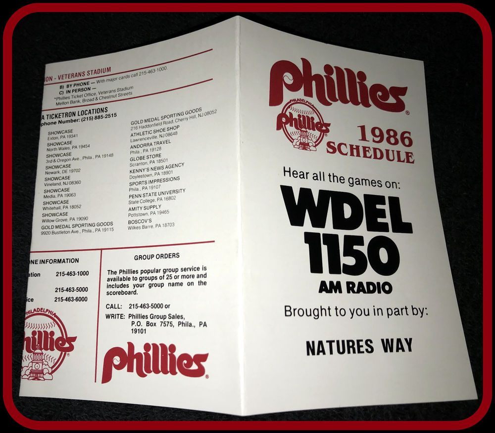 1986 PHILADELPHIA PHILLIES WDEL AM RADIO BASEBALL POCKET