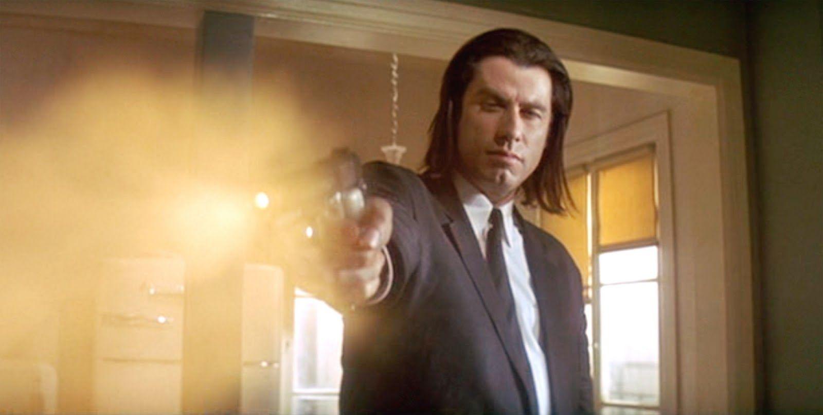 John Travolta Vincent Vega In Pulp Fiction Long Hair Pulp Fiction Fiction Long Hair Styles