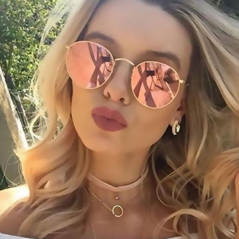 HapiGOO Rose Gold Round Sunglasses Women Fashion Brand Designer ...