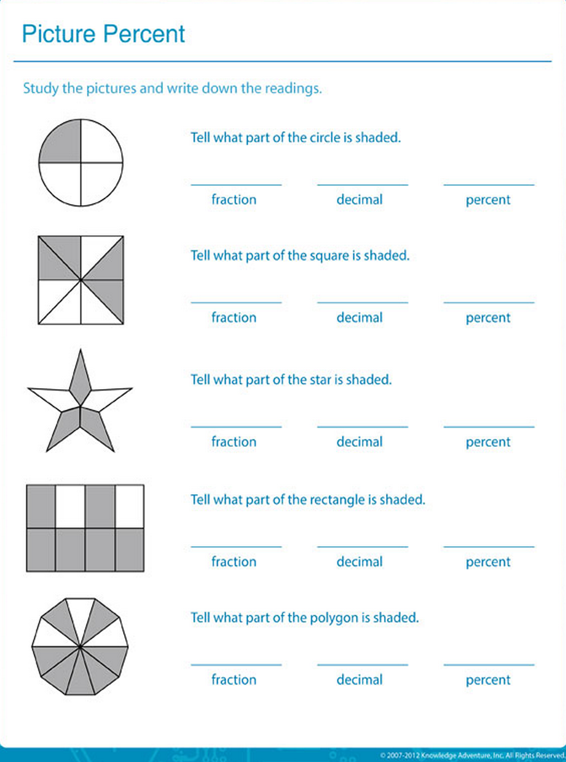worksheet Percentage Worksheets write down the shaded area in fractions decimals and percentages picture percent percentage worksheet for kids math blaster