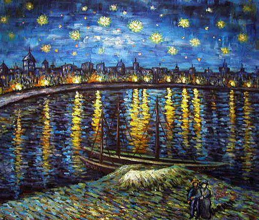 Yessy A Art Original Oil Paintings Van Gogh Rendition Starry Harbour Van Gogh Painting Vincent Van Gogh Paintings