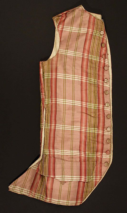 Waistcoat  Date:1775–80Culture:FrenchMedium:silk, linen, cottonDimensions:Length at CB: 28 in. (71.1 cm)Credit Line:Purchase, Gifts of Various Donors Fund, 1986Accession Number:1986.106.5