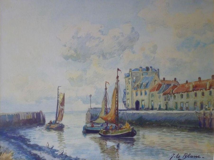 Adriaan Terhell (J.LeBlanc) 1863-1949, aquarel, de haven van Veere (Zeeland)