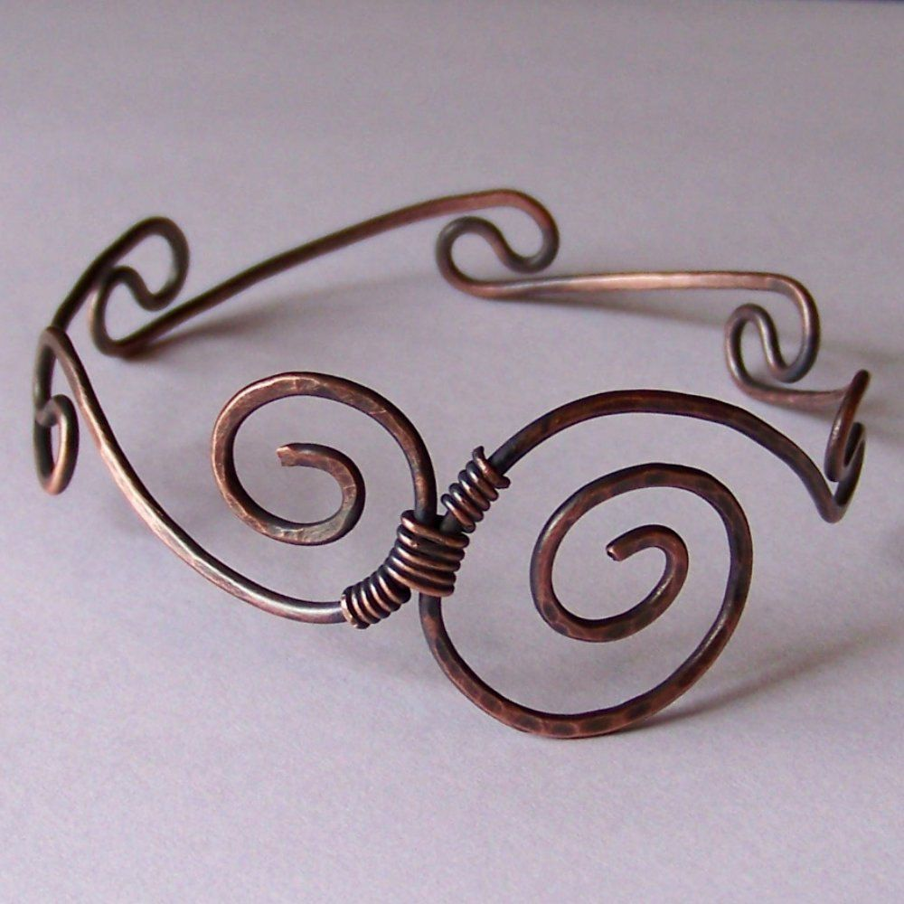 Copper Bangle Bracelet - Waved Double Swirl Copper Bracelet ...
