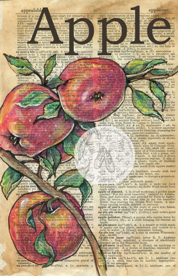 PRINT Apple Mixed Media Drawing on Antique Dictionary by