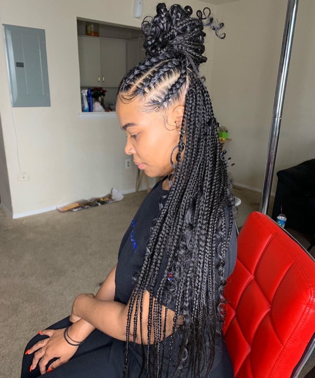 Half Up Half Down Looking Gorgeous Braidsasyoulikeit Braidedhairstylesforblackw In 2020 Braided Hairstyles For Black Women Braided Half Up Half Down Hair Hair Styles