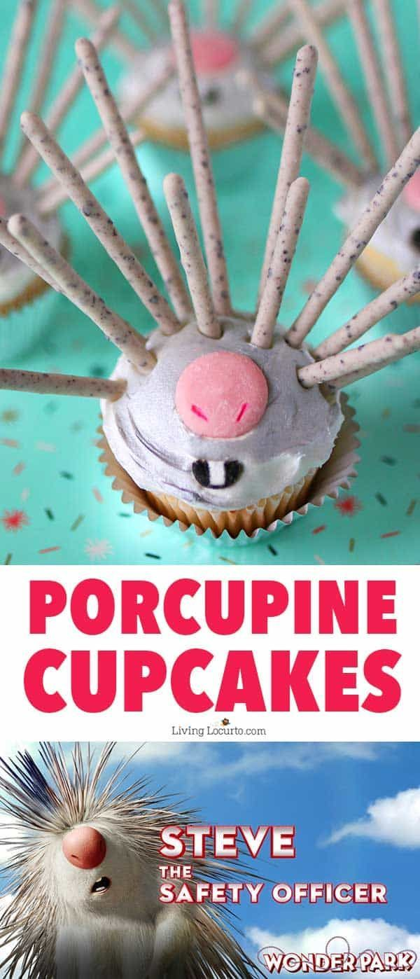 Easy recipe for Wonder Park Porcupine Cupcakes. Learn how to turn a lovable movie character into a sweet dessert. Fun party food idea! #WonderPark is in theaters March 15. #sponsor