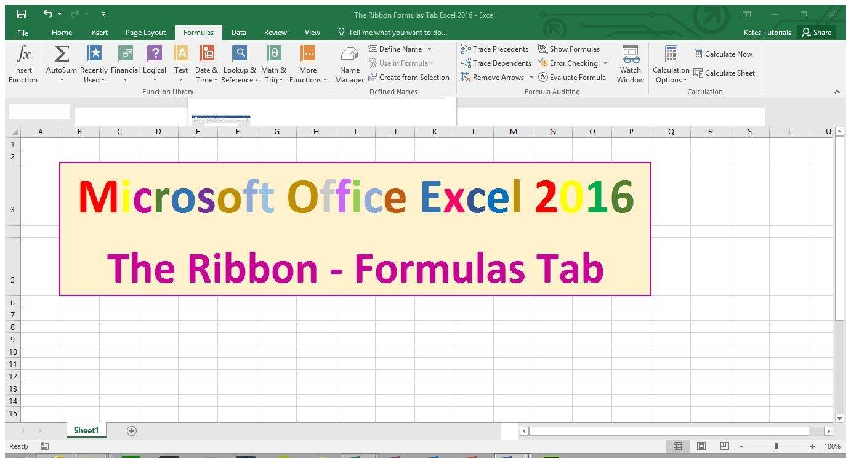 Formulas Tab - The Ribbon - Excel 2016 Tutorial | Microsoft office