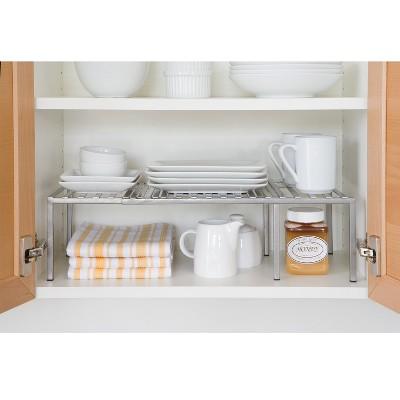 Seville Classics Iron Slat Expandable Kitchen Counter And Cabinet Shelf Satin Pewter Kitchen Cabinet Shelves Kitchen Cabinet Organization Kitchen Drawer Organization
