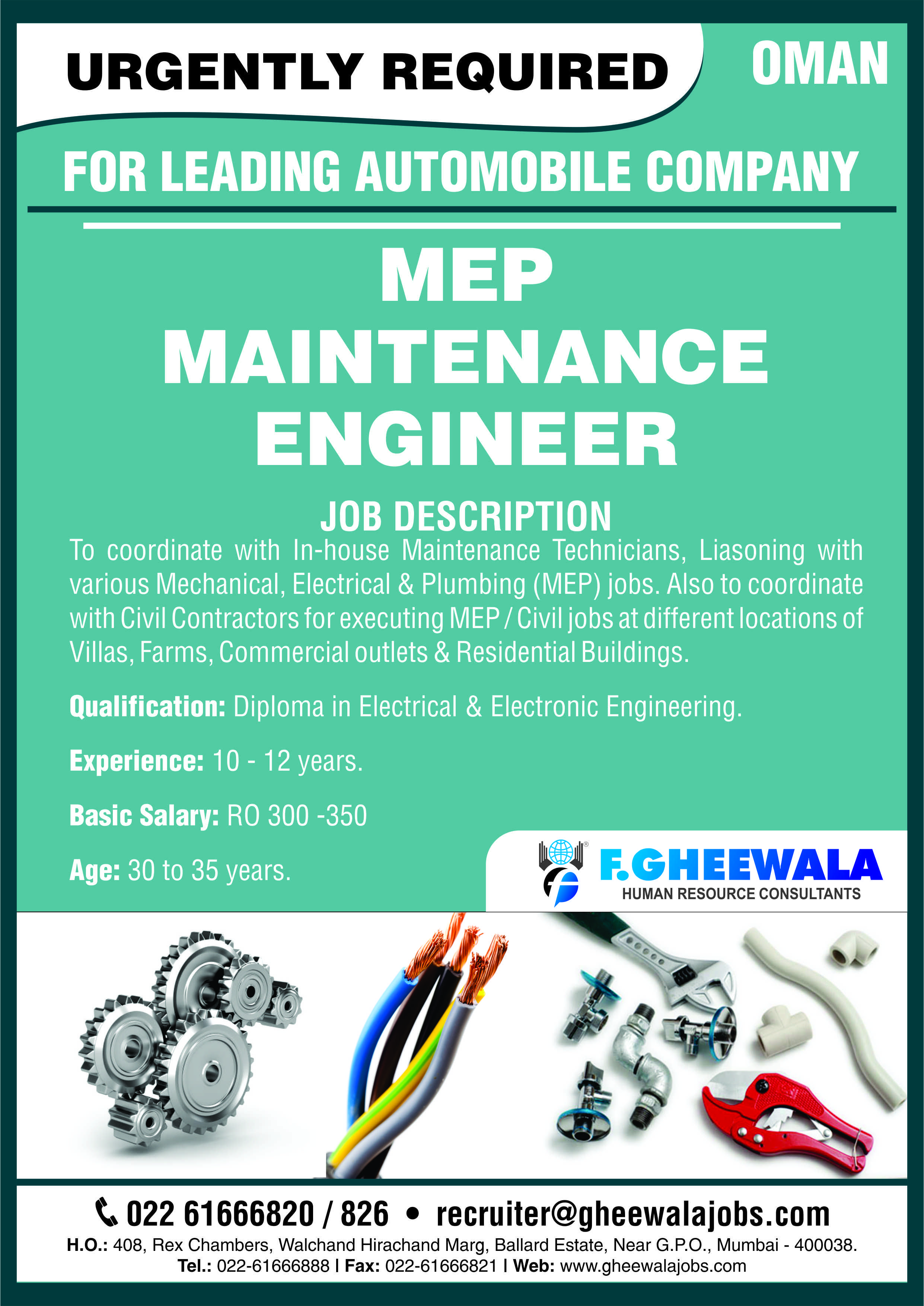 Urgently Required Mep Maintenance Engineer For Leading Automobile