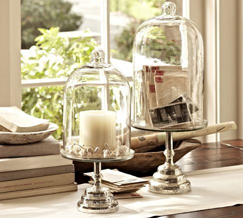 These Are Gorgeous Glass Cloche With Mercury Glass Stand