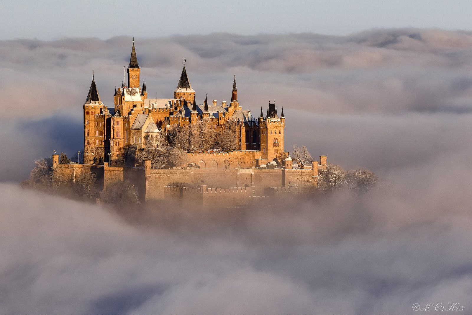 Hohenzollern Castle At Sunrise On A Winter Morning In The Sea Of Clouds Germany Hohenzollern Castle Germany Castles Castle