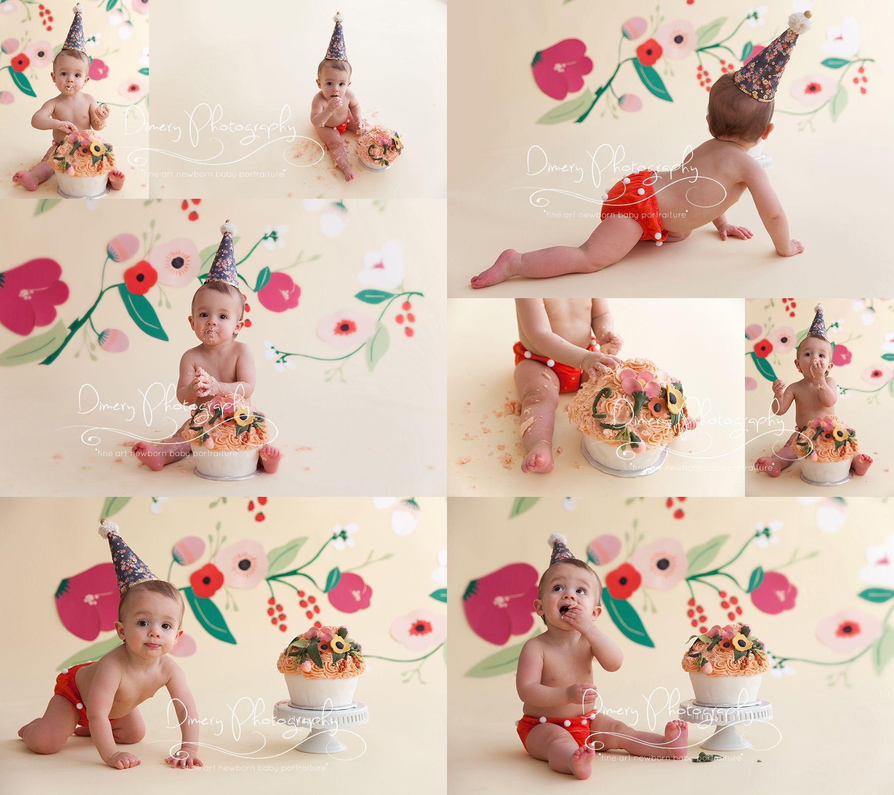 Birthday Photography Lighting: Floral Cake Smash, Pretty Feminine Cakesmash, First