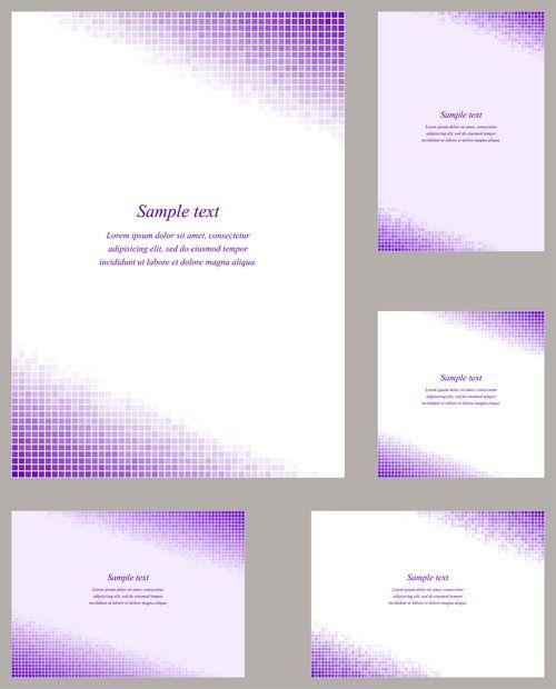 Purple square mosaic page corner design template set for invitation - greeting -  card - letter - brochure - etc...